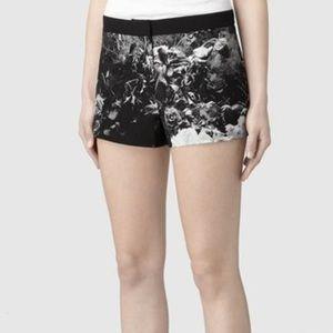 All Saints Black Floral Brushed Silk Shorts 4